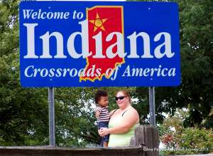 Malakai's first trip to Indiana to meet his Grandpa, Grandma Deb & Great Grandmother. Photo taken with Auntie (TeeTee) at I-65 Welcome Center.